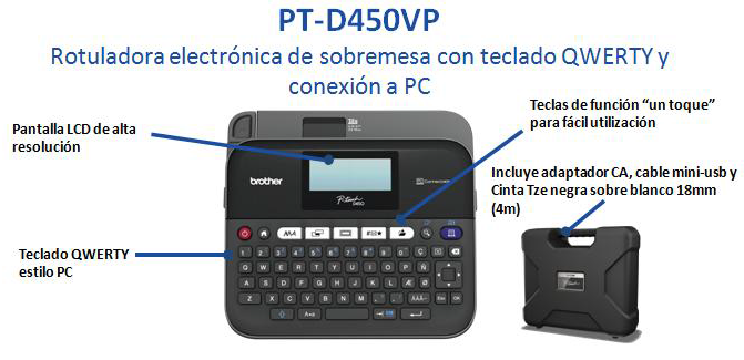 MAQUINA ROTULADORA BROTHER P-TOUCH PTD450VP